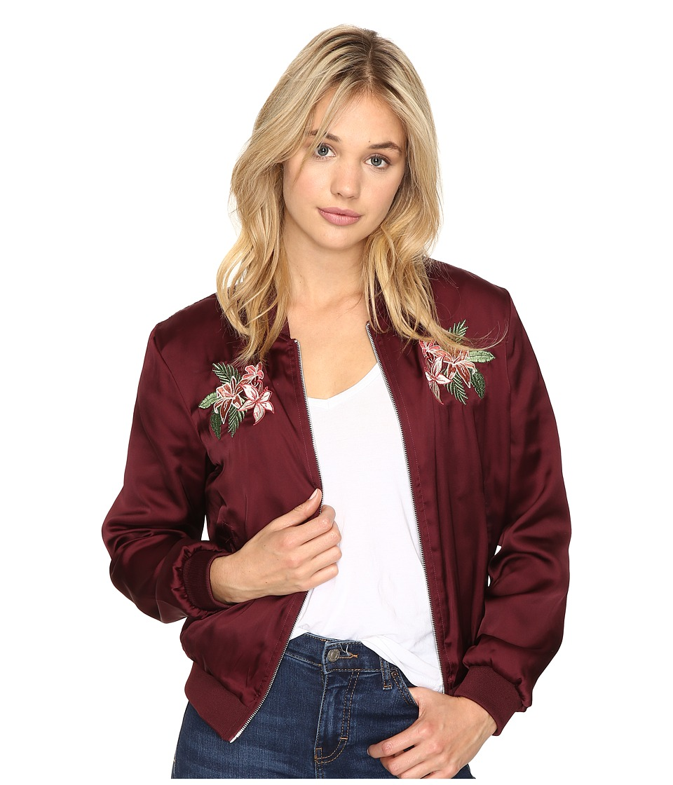 ROMEO & JULIET COUTURE - Satin Bomber Jacket (Wine) Women's Coat