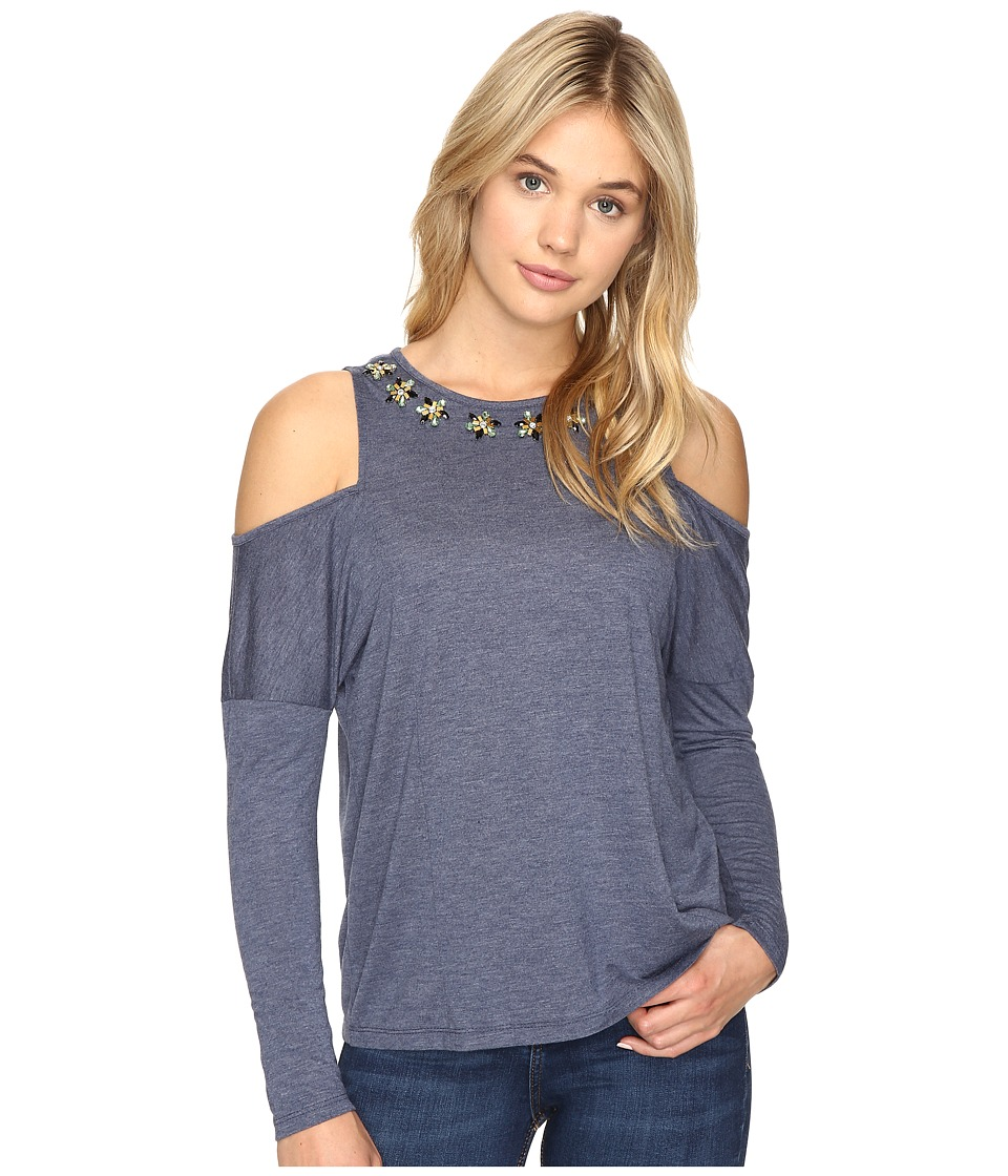 ROMEO & JULIET COUTURE - Cold Shoulder Top (Heather Navy) Women's Clothing