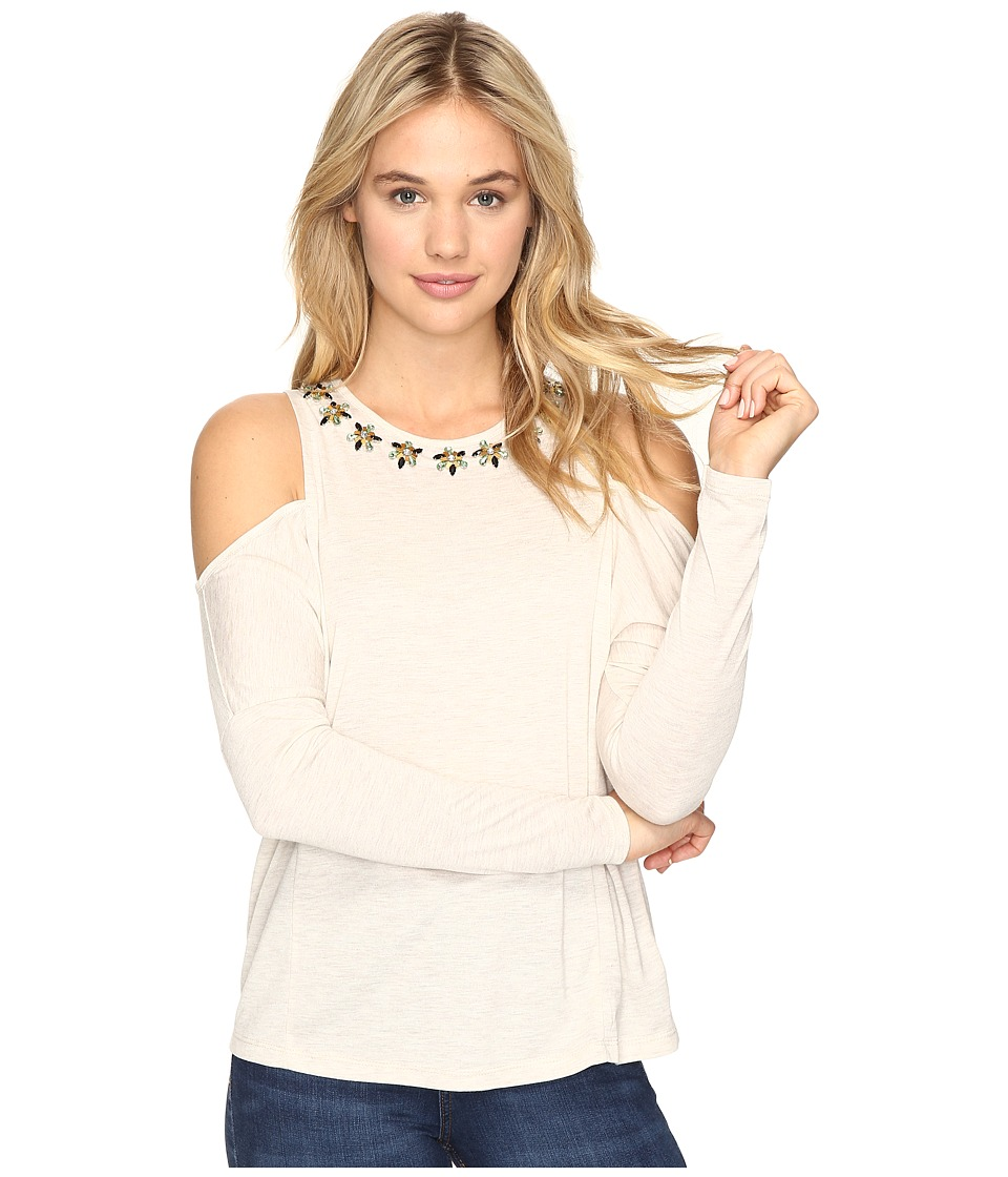 ROMEO & JULIET COUTURE - Cold Shoulder Top (Heather Oatmeal) Women's Clothing