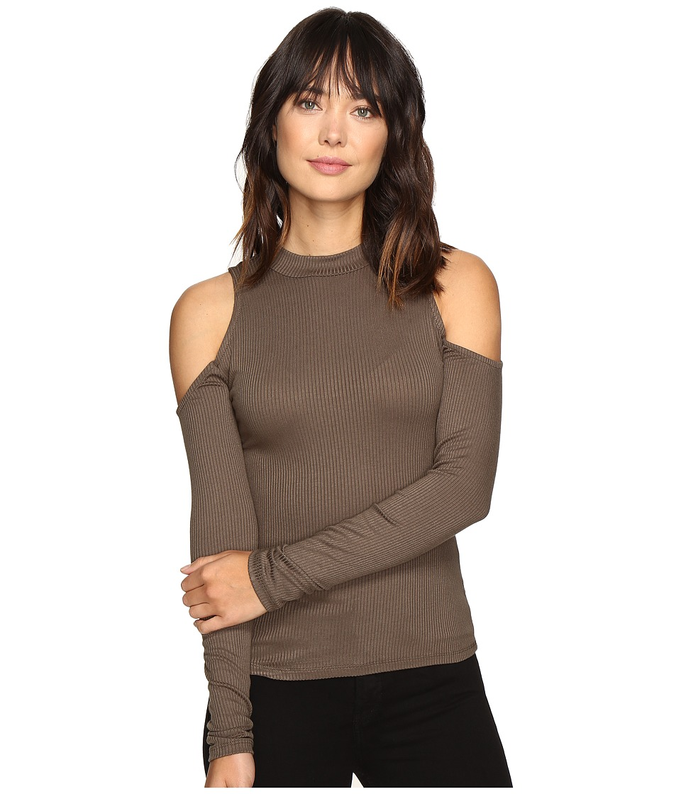 ROMEO & JULIET COUTURE - Cold Shoulder Top (Olive) Women's Clothing