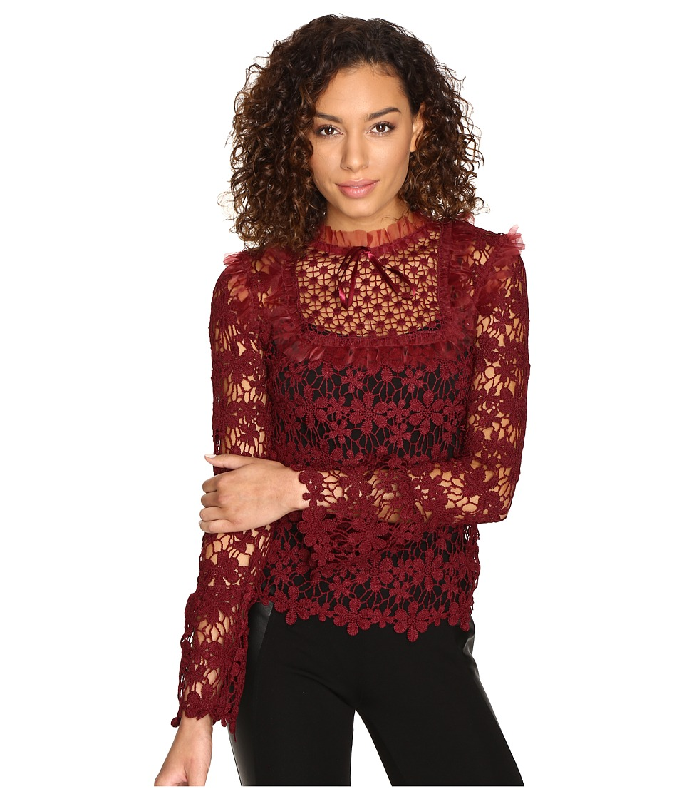 ROMEO & JULIET COUTURE - Lace Top (Maroon) Women's Clothing