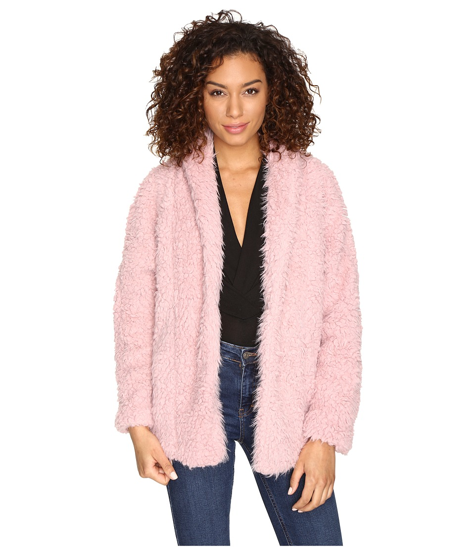 ROMEO & JULIET COUTURE - Fluffy Fur Coat (Pink) Women's Coat