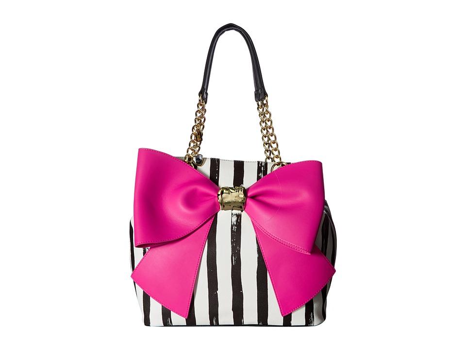 Betsey Johnson - Bow and Arrow Tote (Stripe/Fuchsia) Tote Handbags