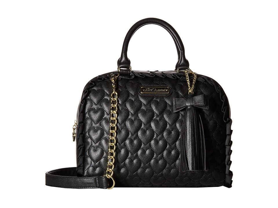 Betsey Johnson - Be Mine Dome Satchel (Black) Satchel Handbags