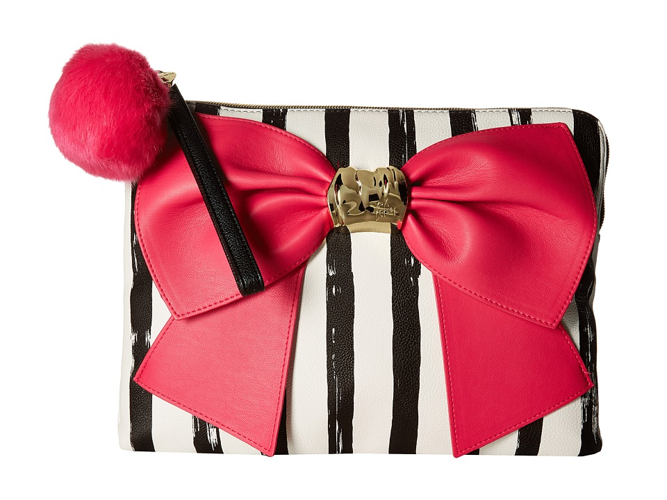 Betsey Johnson - Bow and Arrow Pouch (Stripe/Fuchsia) Travel Pouch