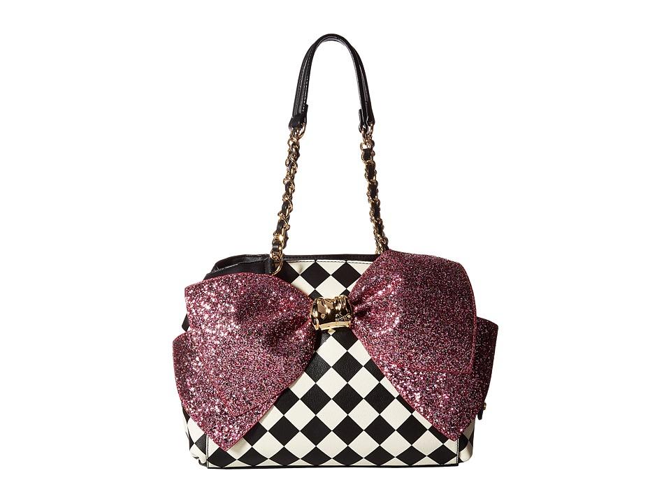 Betsey Johnson - Bow-Lesque Satchel (Black/White) Satchel Handbags