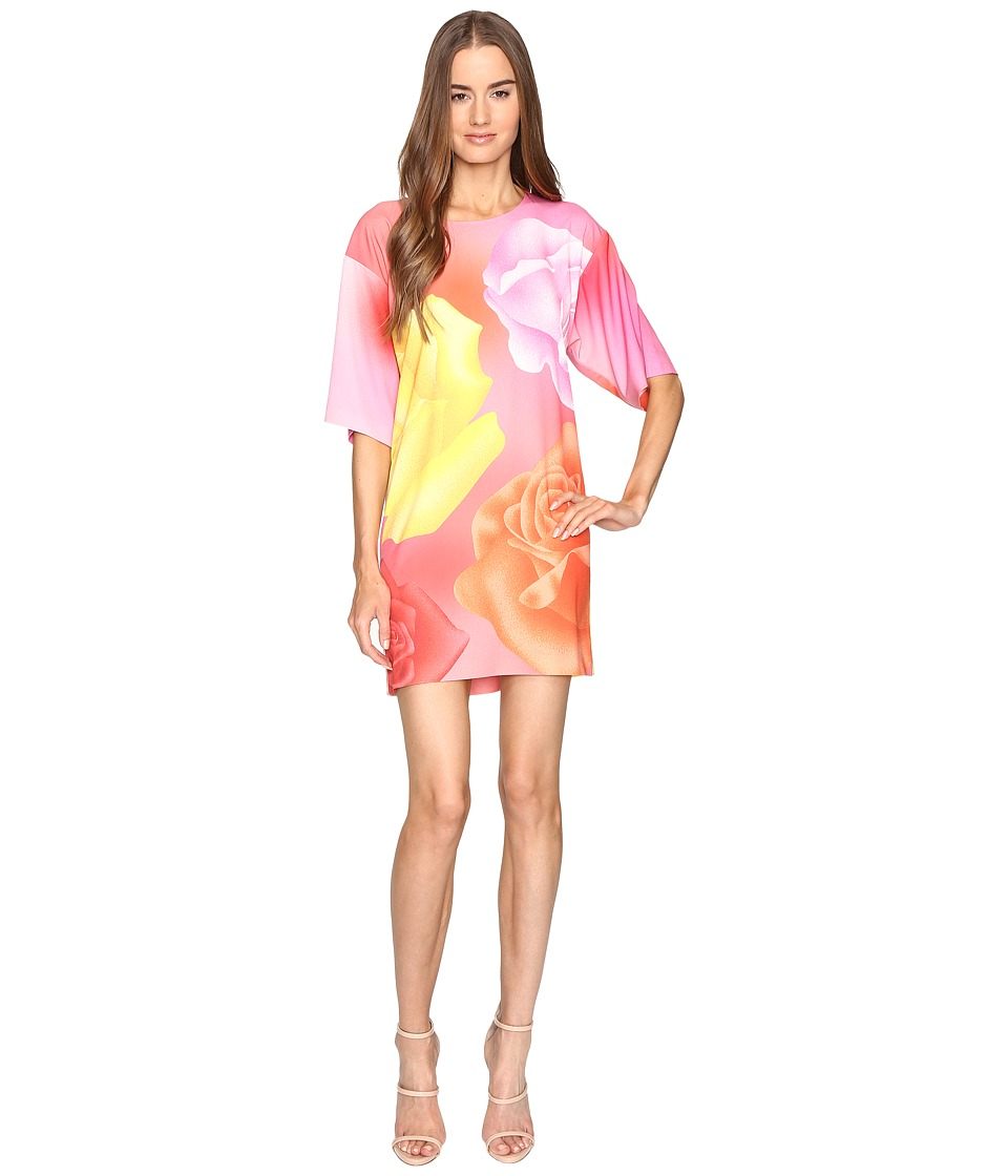 Boutique Moschino Floral Silk Tee (Pink Multi) Women