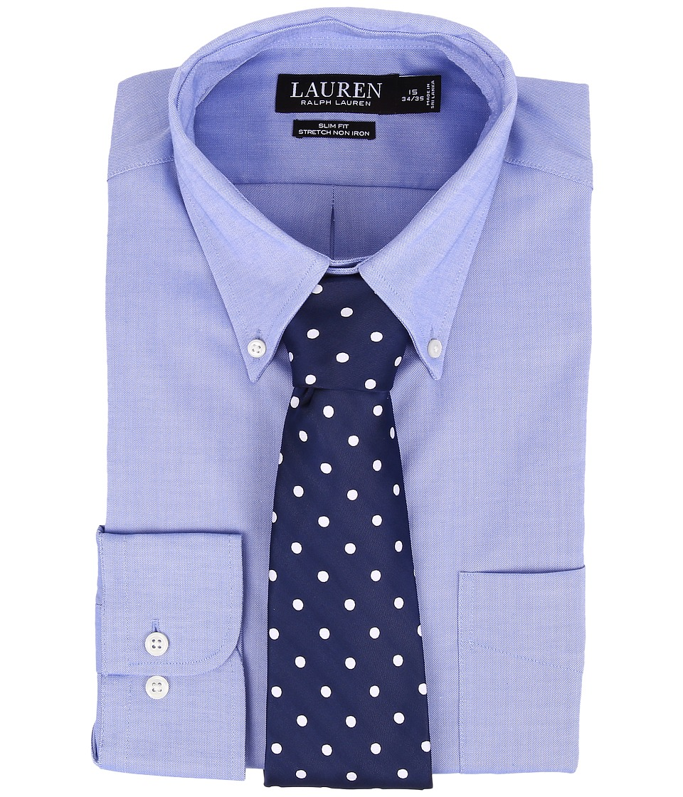 LAUREN Ralph Lauren - Slim Fit Stretch Non Iron Pinpoint Button Down Dress Shirt (Blue) Men's Clothing