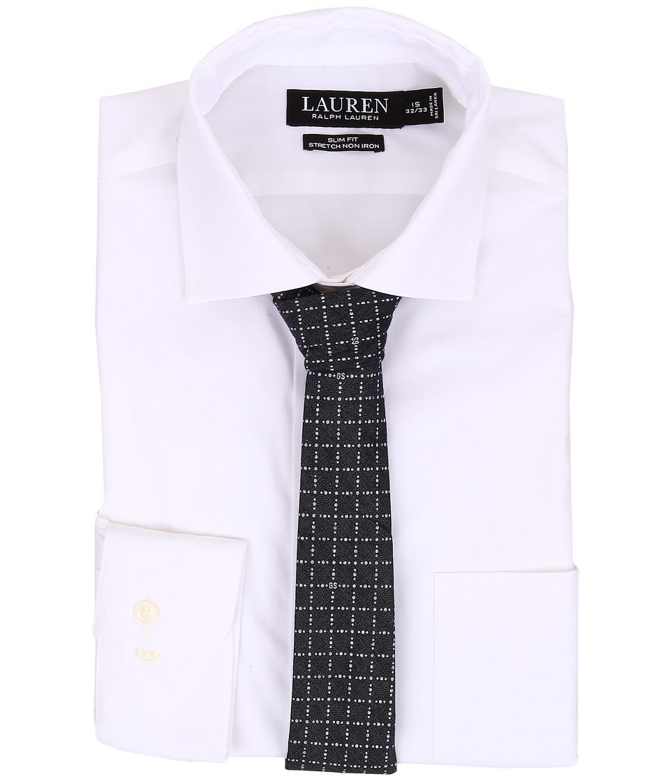 LAUREN Ralph Lauren - Slim Fit Stretch Non Iron Popin Estate Spread Collar Dress Shirt (White) Men's Clothing