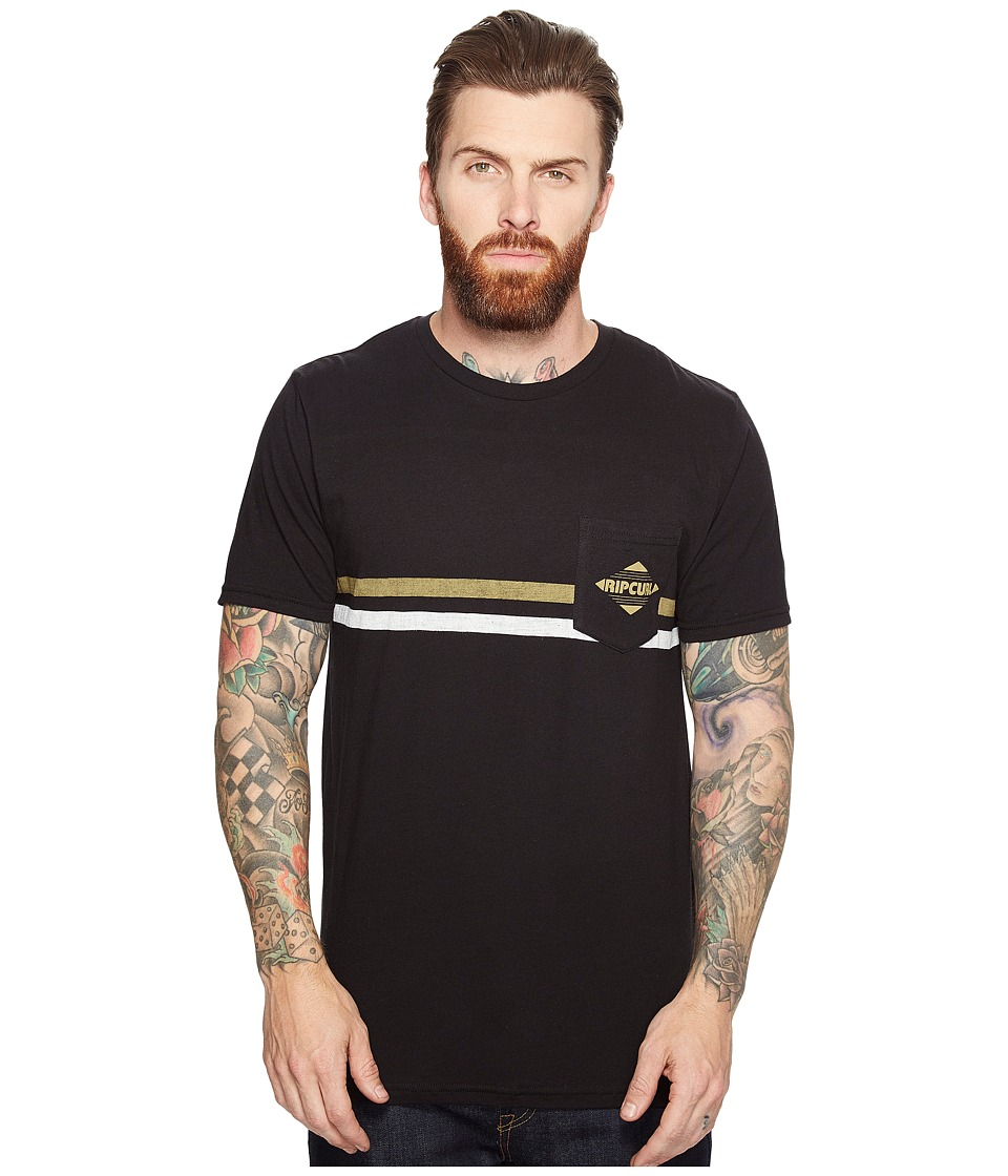 Rip Curl - Crossed Pocket Custom Tee (Black) Men's T Shirt