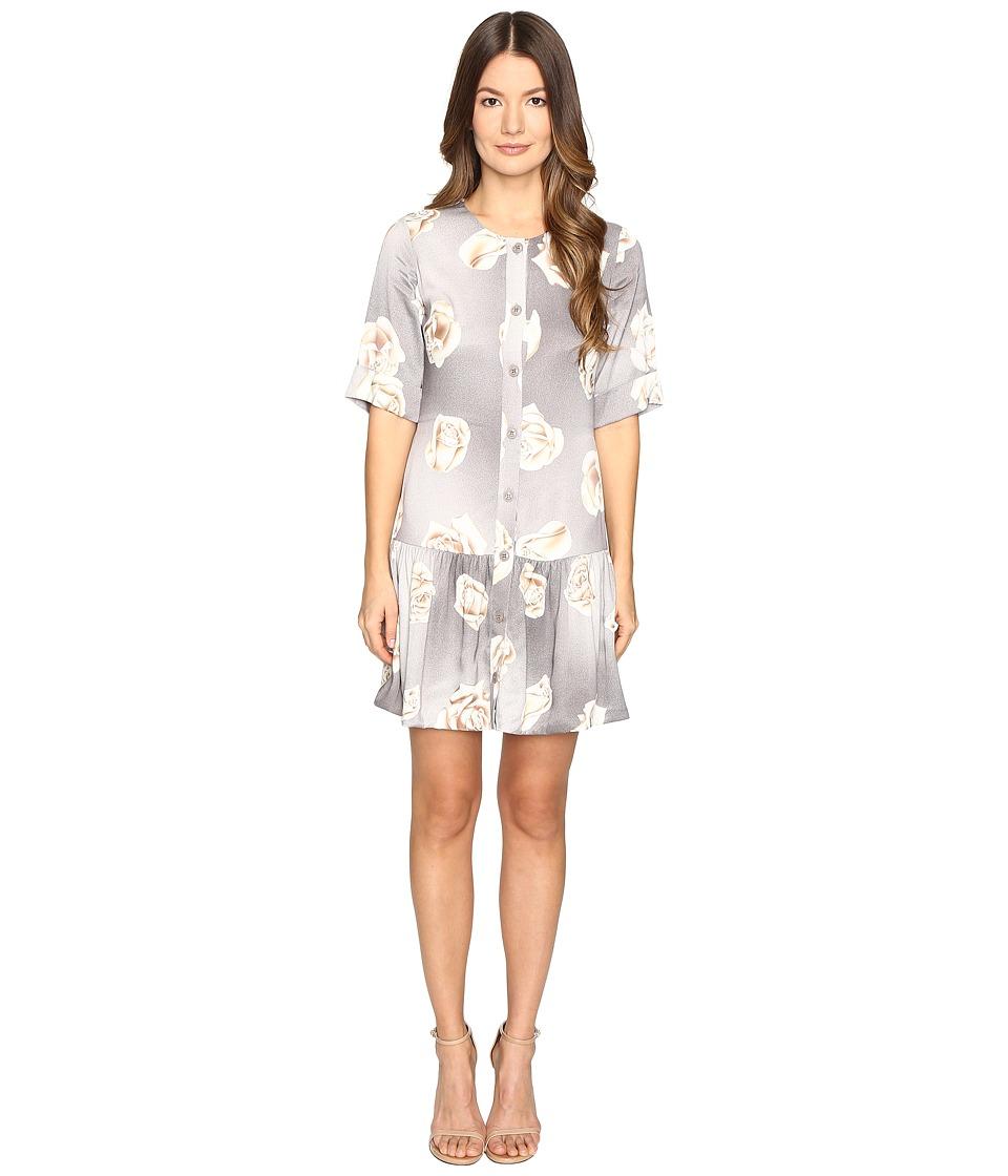Boutique Moschino - Silk Floral Button Up Dress (Gray) Women's Dress