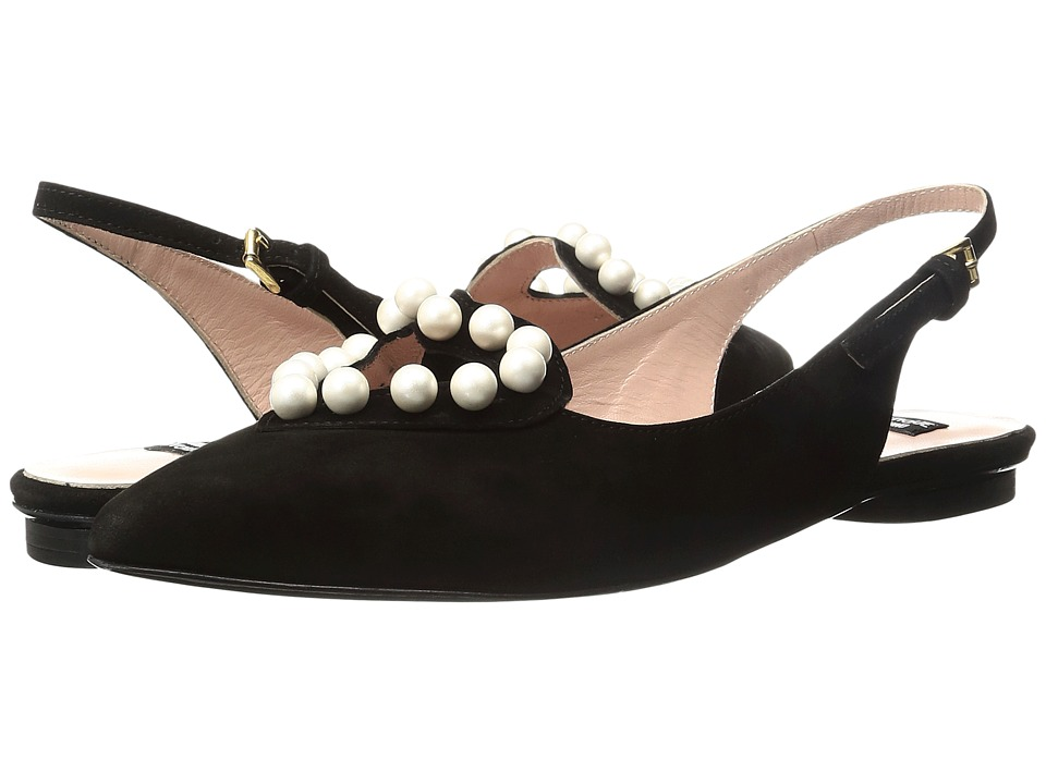 Boutique Moschino - Pearl Slingback Flat (Black) Women's Flat Shoes