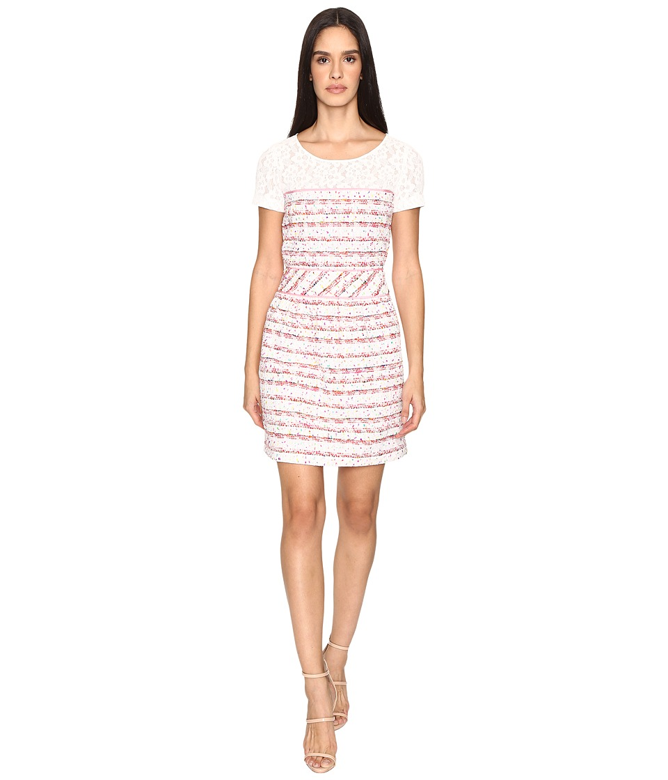 Boutique Moschino - Tweed Dress with Tee Underlay (Pink Stripe) Women's Dress