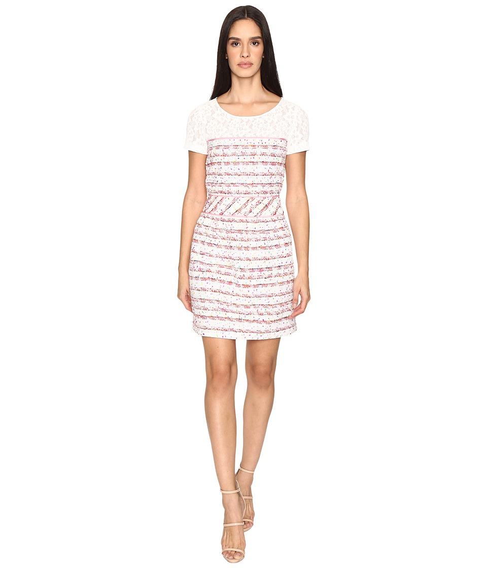 Boutique Moschino Tweed Dress with Tee Underlay (Pink Stripe) Women
