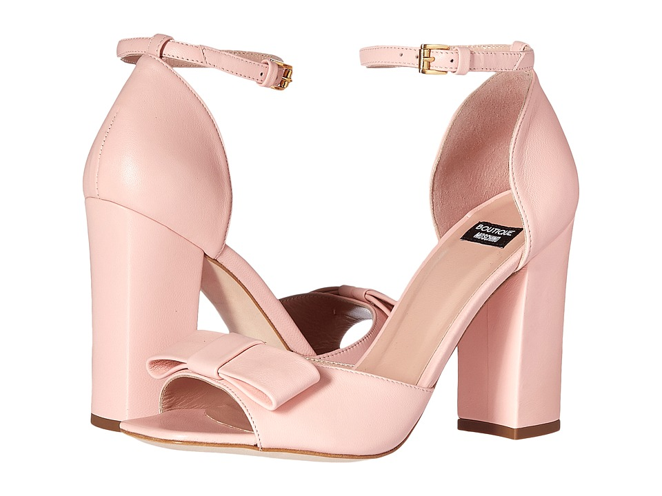 Boutique Moschino - Ankle Strap Heel with Bow (Blush) Women's Sandals