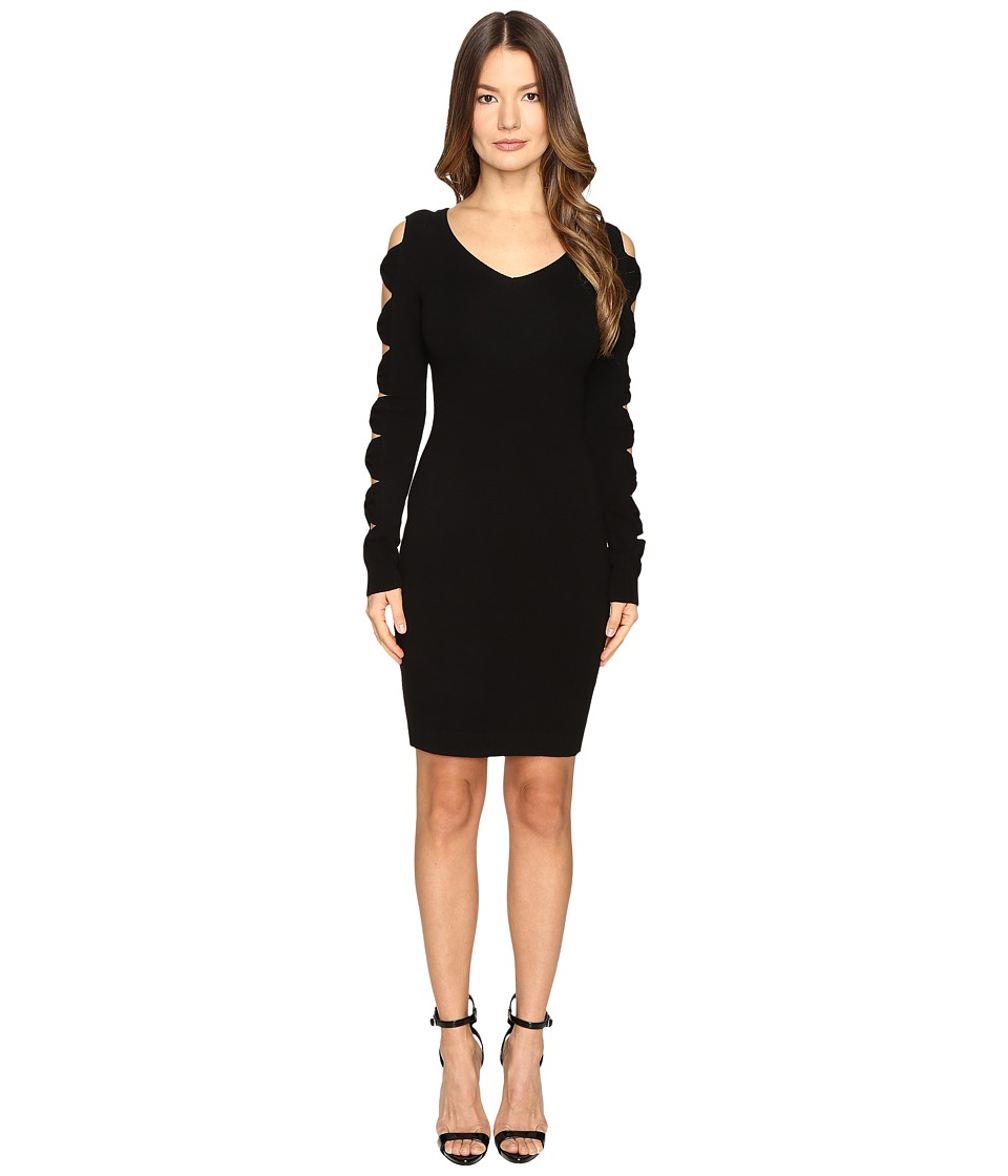 Boutique Moschino - Knit Sweater Dress with Bow Sleeves (Black) Women's Dress
