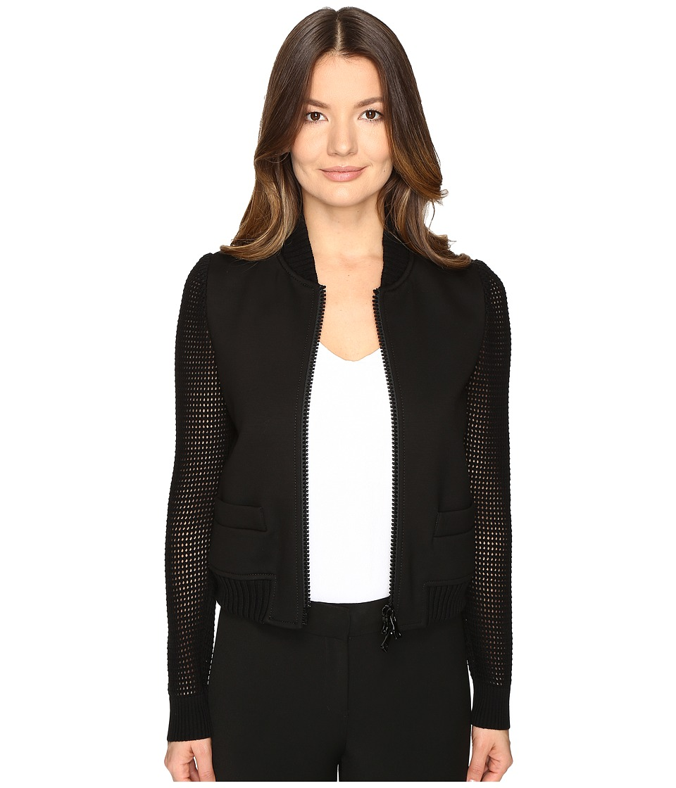 Boutique Moschino - Mixed Media Bomber (Black) Women's Coat