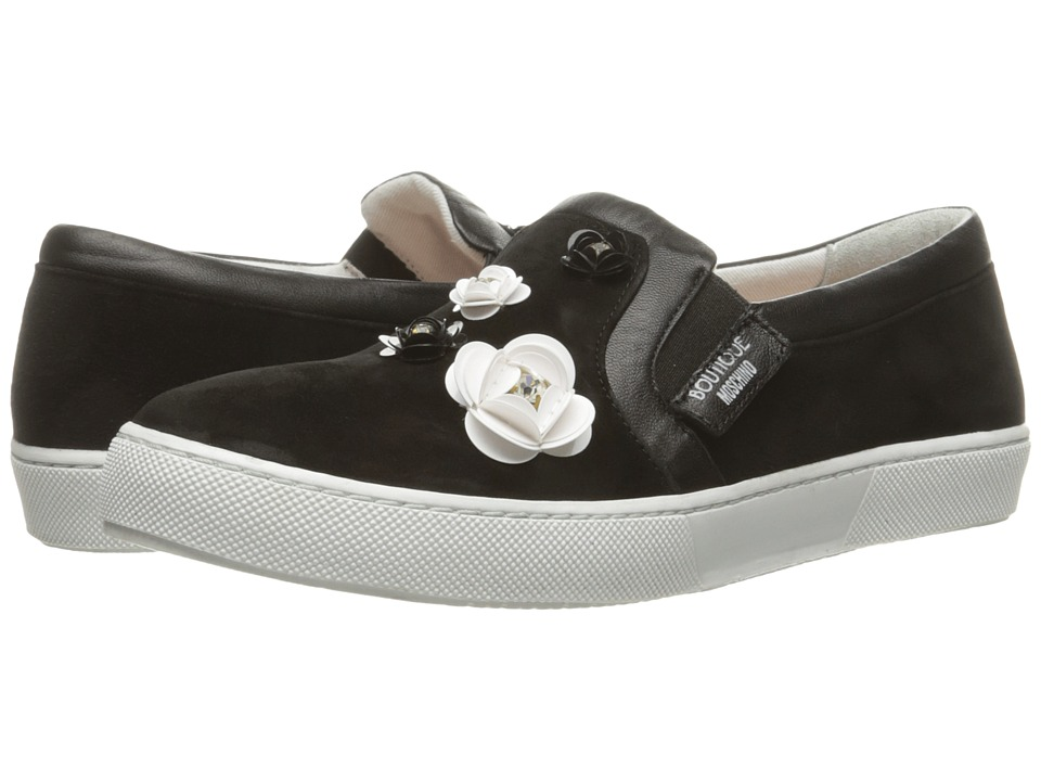 Boutique Moschino - Embellished Floral Skater Shoe (Black) Women's Shoes
