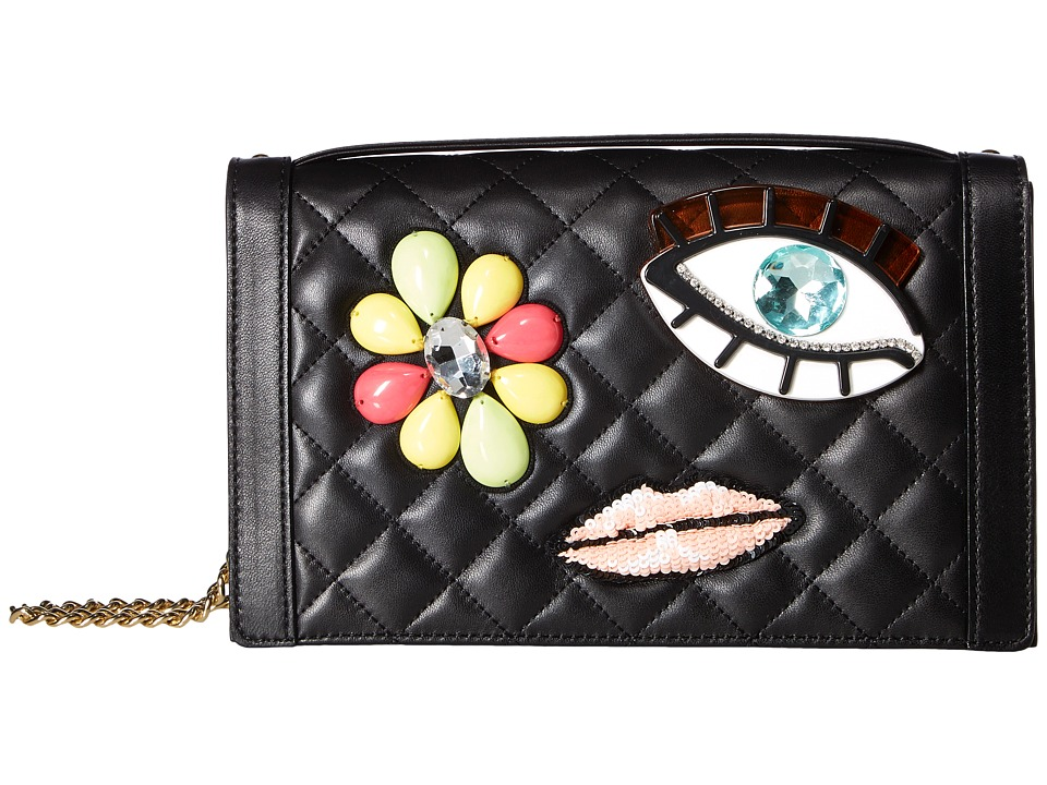 Boutique Moschino - Embellished Brooch Shoulder Bag (Black Multi) Shoulder Handbags
