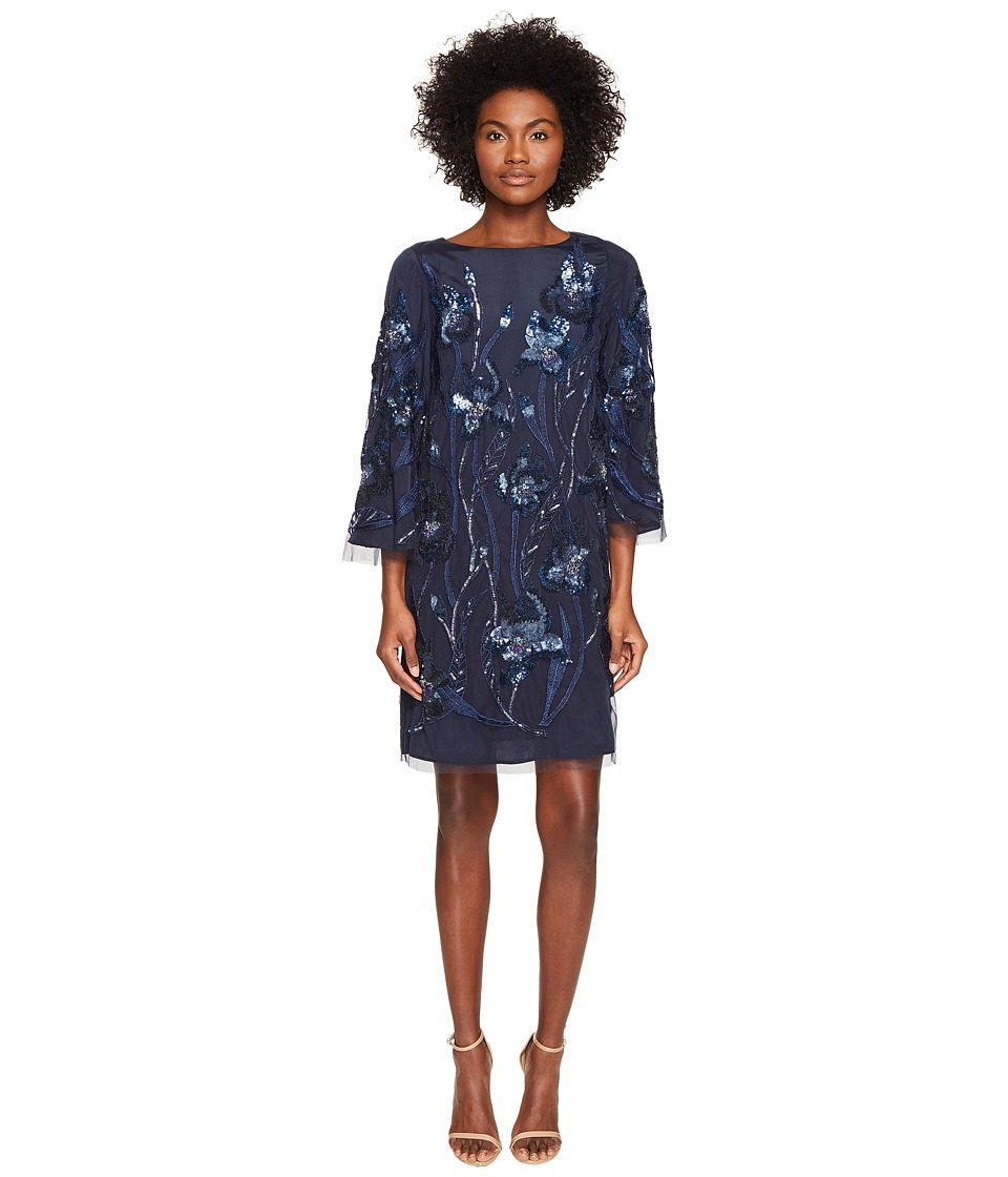 Marchesa Notte - 3/4 Sleeve Tunic Dress w/ Embroidery Detail (Navy) Women's Dress