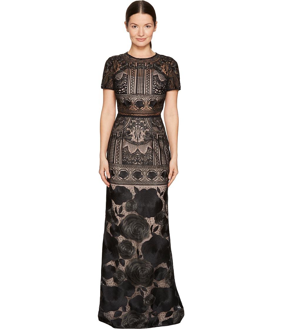 Marchesa Notte Short Sleeve Lace Gown (Black) Women