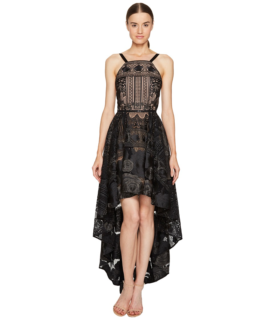 Marchesa Notte High-Low Tulle Gown (Black) Women