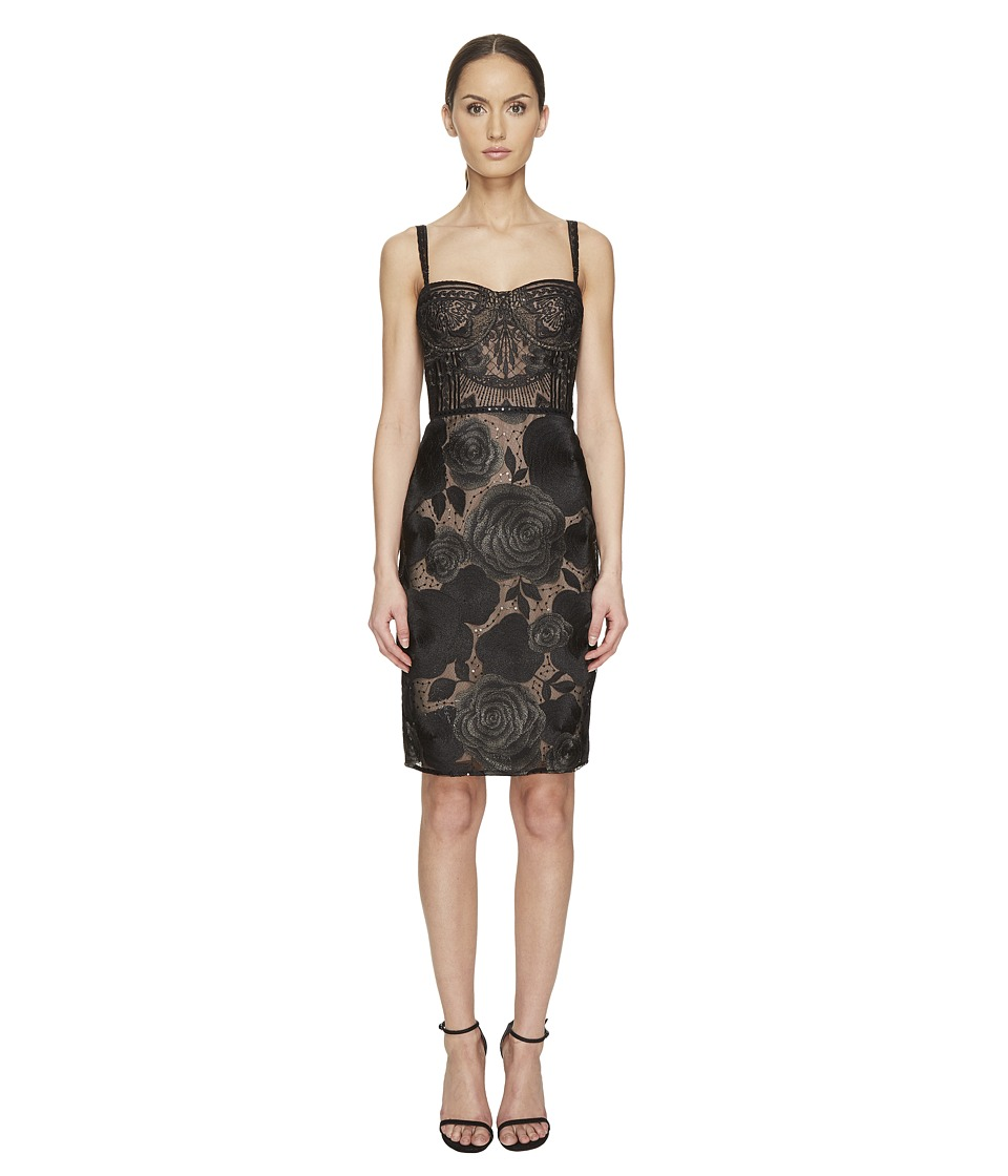 Marchesa Notte - All Over Embroidered Bustier Cocktail Dress (Black) Women's Dress