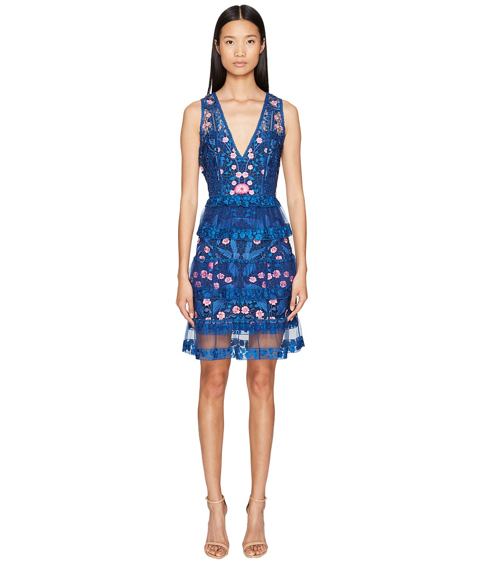 Marchesa Notte Sleeveless Cocktail Guipure Lace Tiered Skirt Navy Dress