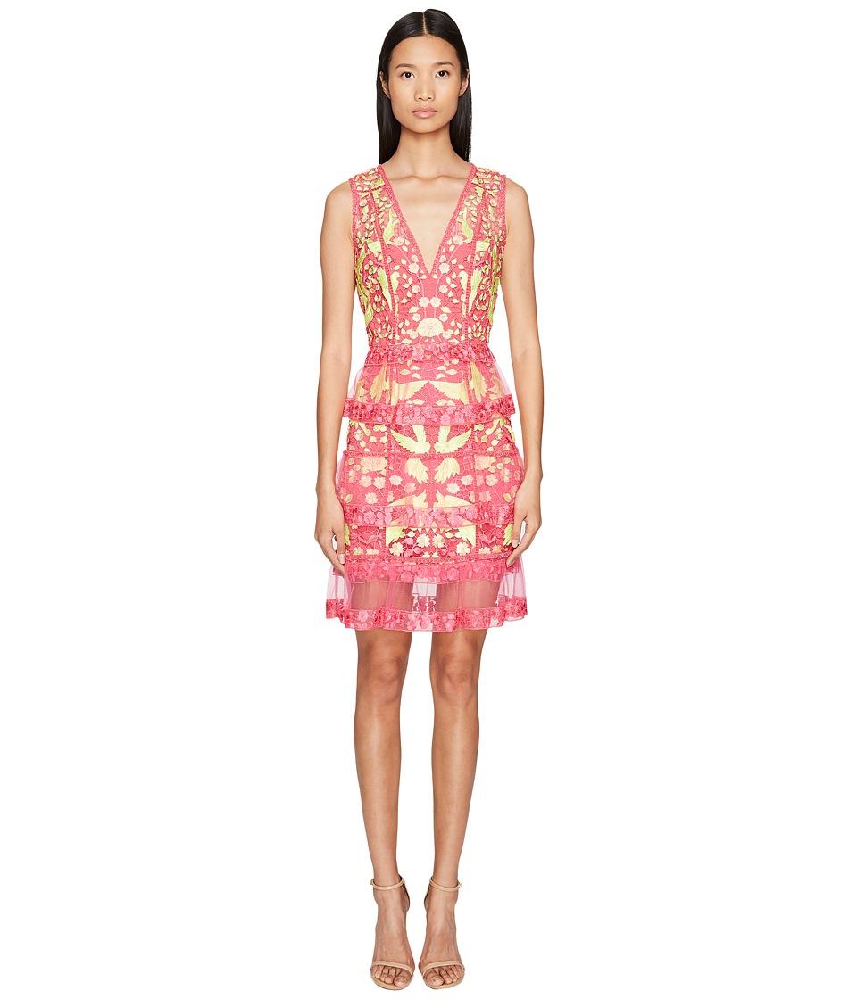 Marchesa Notte - Sleeveless Cocktail w/ Guipure Lace Tiered Skirt (Fuchsia) Women's Dress