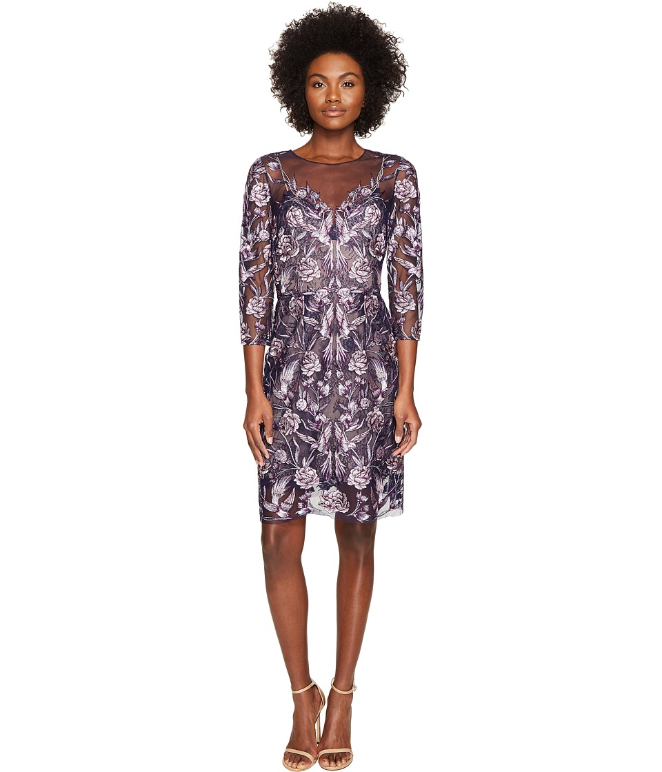 Marchesa Notte All Over Embroidered Cocktail Dress w/ 3/4 Sleeves (Navy) Women