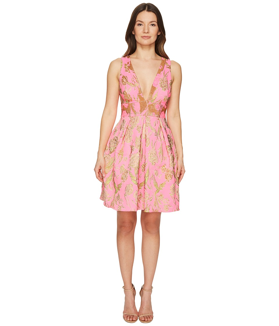 Marchesa Notte V-Neck Metallic Floral Cocktail Dress (Pink) Women