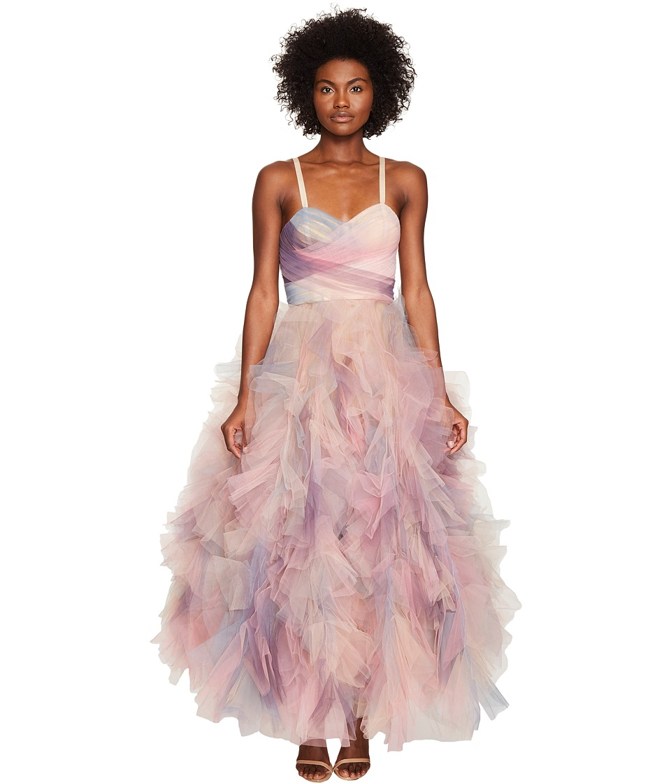 Marchesa Pastel Tulle Ruffles w/ Corseted Bodice Cocktail Dress (Multi) Women