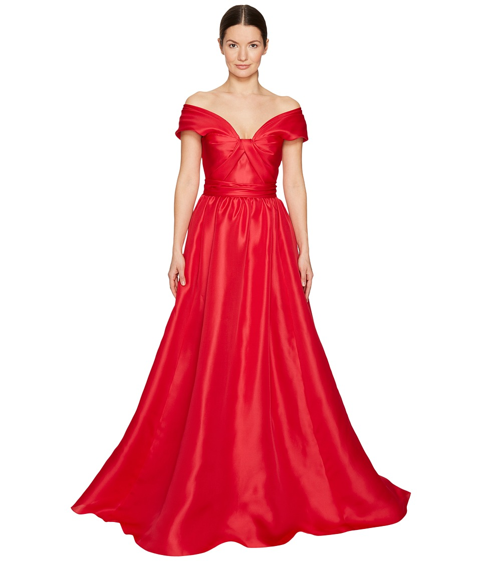 Marchesa - Silk Off Shoulder Sculptural Ball Gown (Poppy) Women's Dress