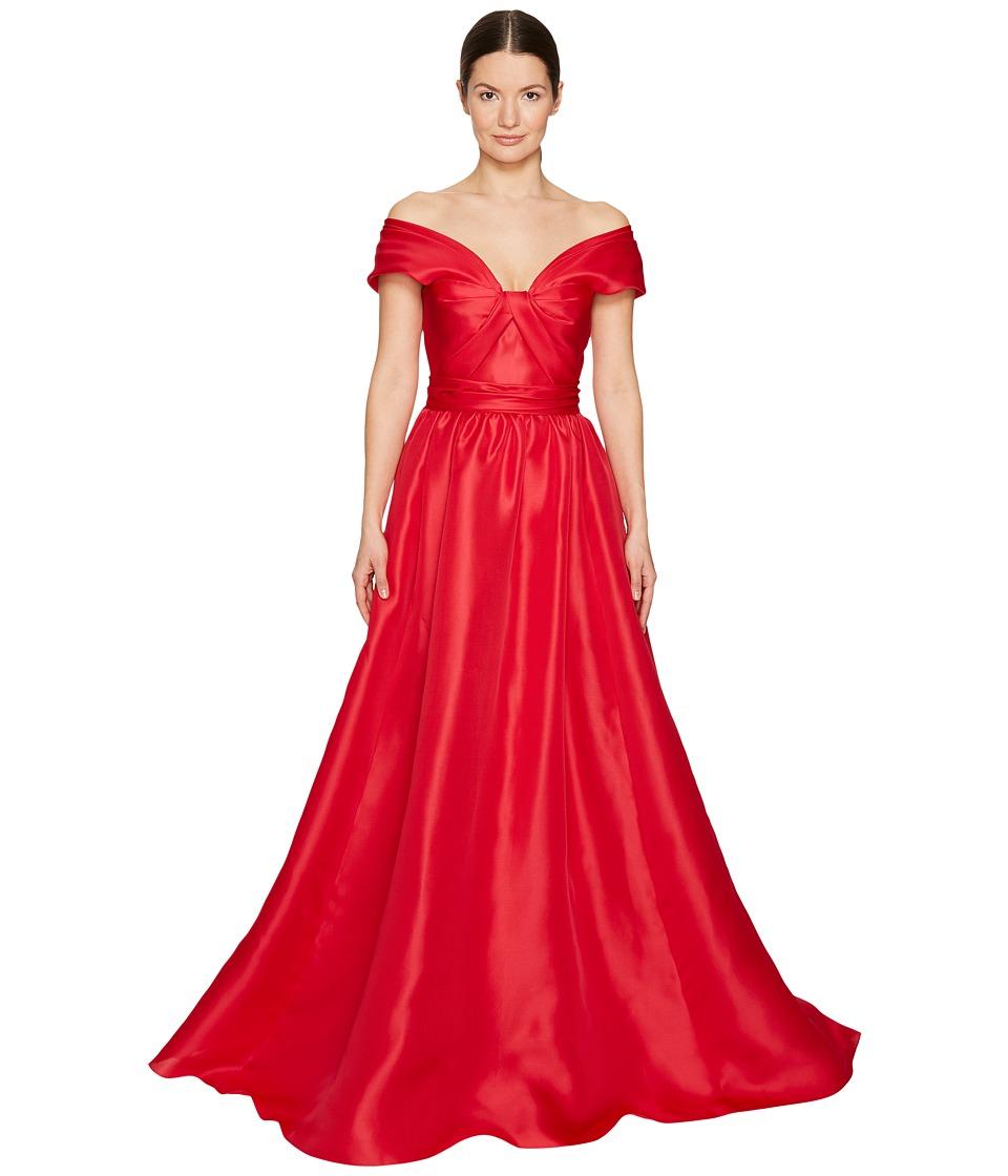 Marchesa - Silk Off Shoulder Sculptural Ball Gown (Poppy) Women's Dress