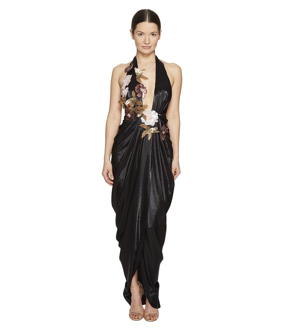 Marchesa - Halter Grecian Gown w/ 3D Sequin Flower Corsages (Black) Women's Dress