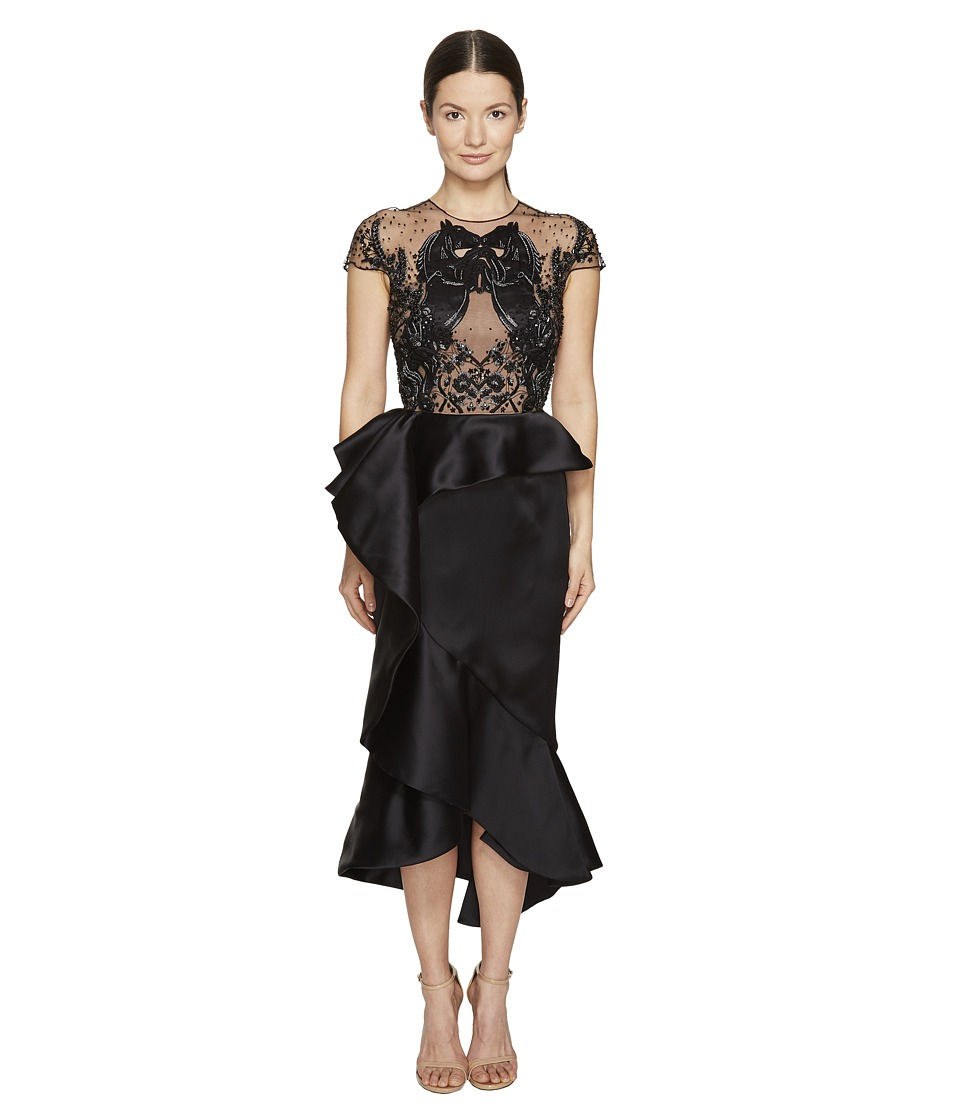 Marchesa - Ruffled Peplum Skirt w/ Beaded Black Horse Bodice (Black) Women's Dress