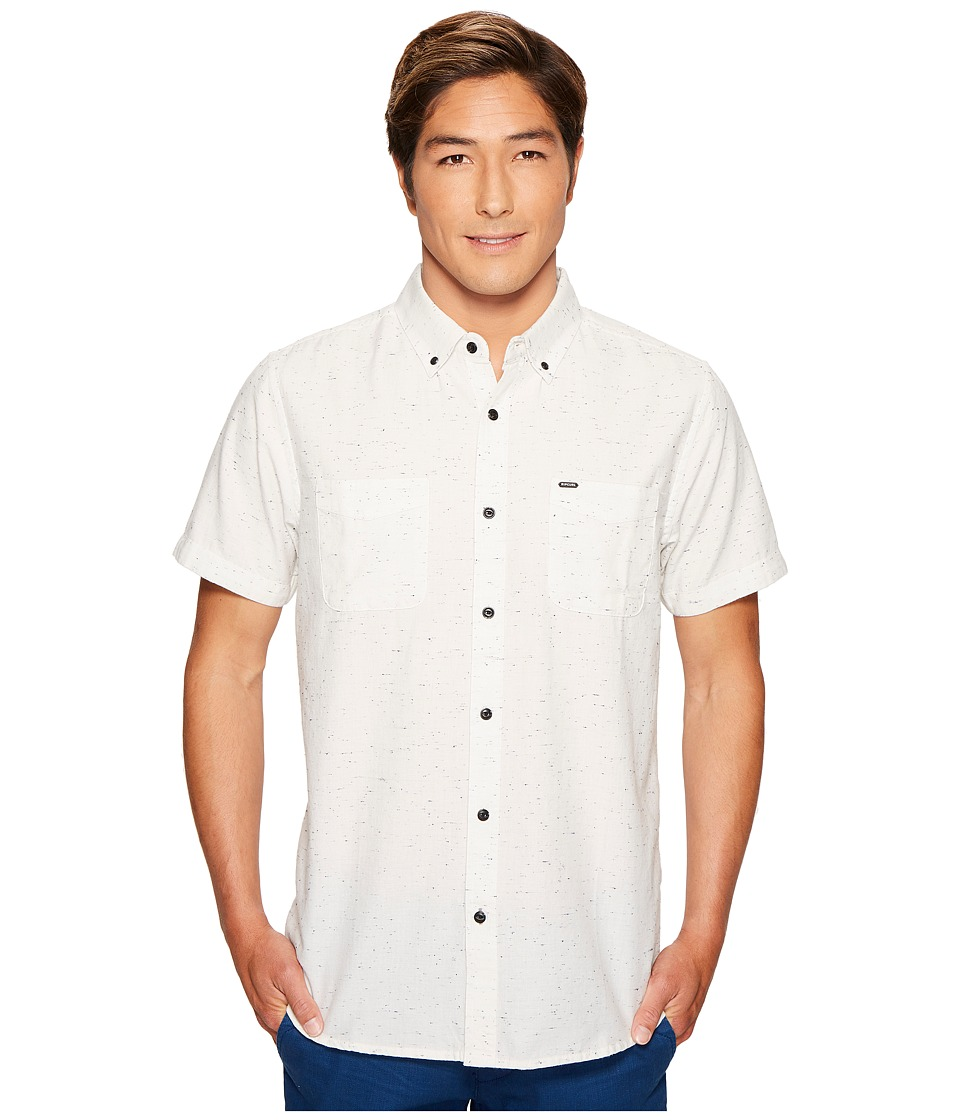 Rip Curl - Land Locked Short Sleeve Shirt (Off-White) Men's Short Sleeve Button Up