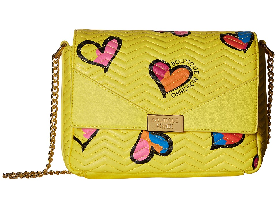 Boutique Moschino - Boutique Heart Shoulder Bag (Yellow Multi) Shoulder Handbags