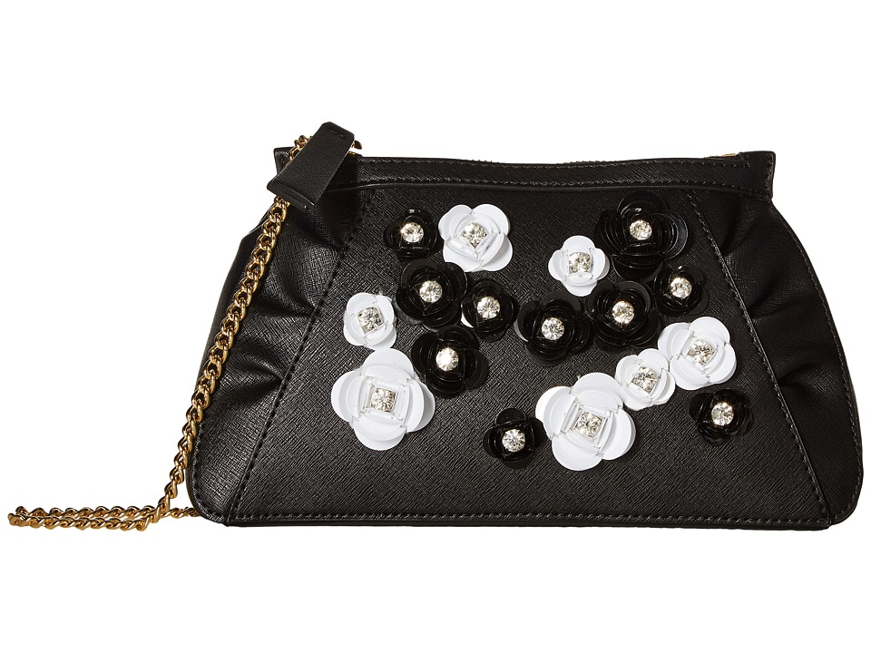 Boutique Moschino Embellished Floral Clutch with Chain (Black Embellished) Clutch Handbags