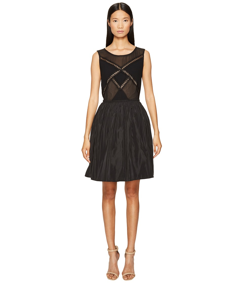 The Kooples - Robe Avec Details Dentelle Devant Et Dos Dress (Black) Women's Dress
