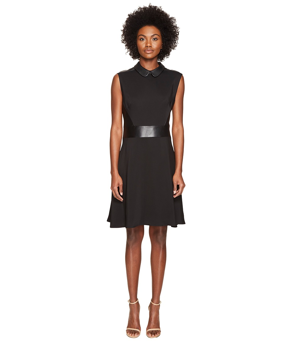 The Kooples - Robe Bureau Sans Manches Details Cuir Taille Col Dress (Black) Women's Dress