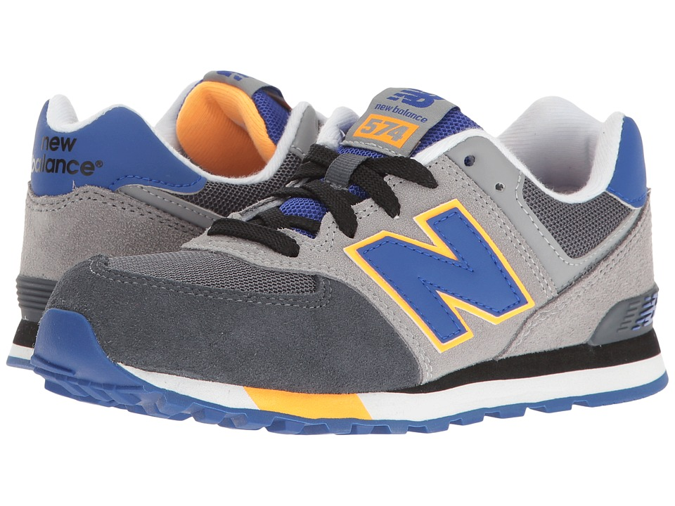 New Balance Kids - KL574v1 (Big Kid) (Grey/Blue) Boys Shoes