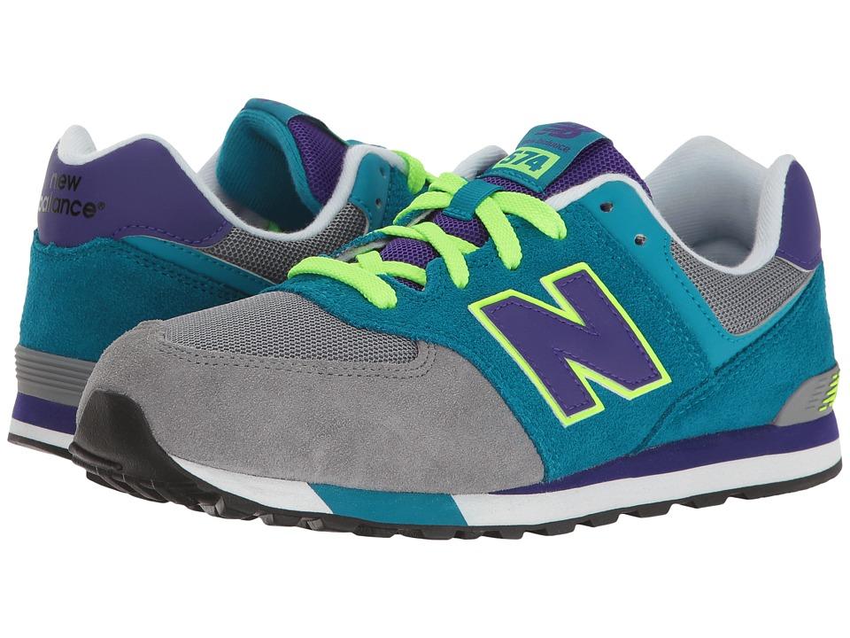 New Balance Kids KL574v1 (Big Kid) (Grey/Teal) Girls Shoes