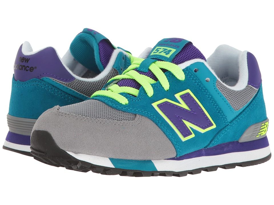 New Balance Kids - KL574v1 (Little Kid) (Grey/Teal) Girls Shoes