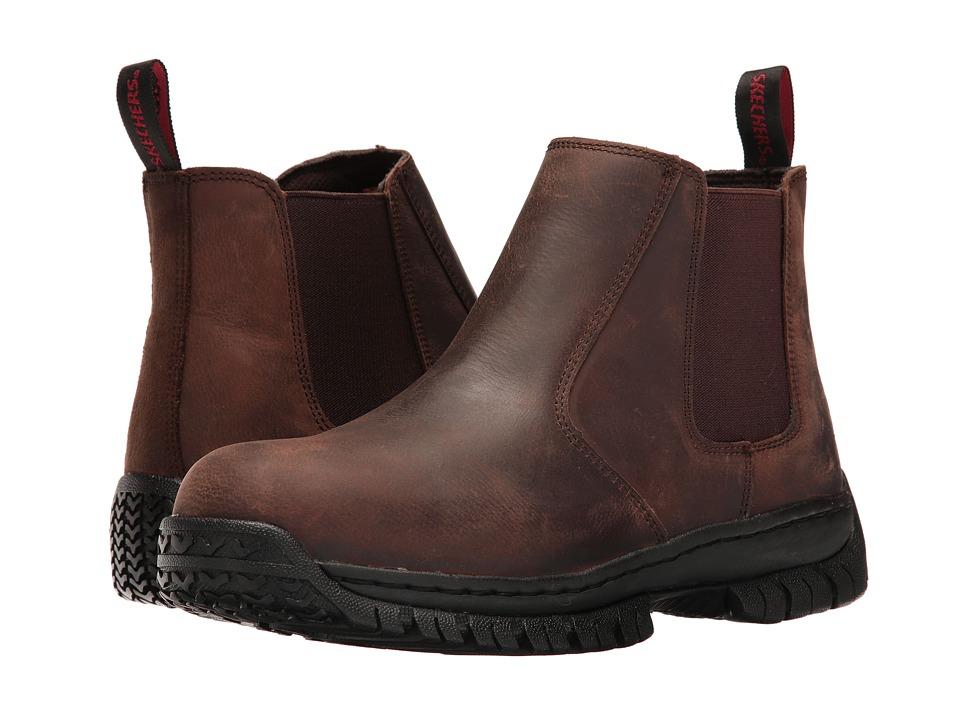 SKECHERS Work - Hartan - Glendo (Dark Brown Buffalo Crazyhorse Leather) Men's Shoes