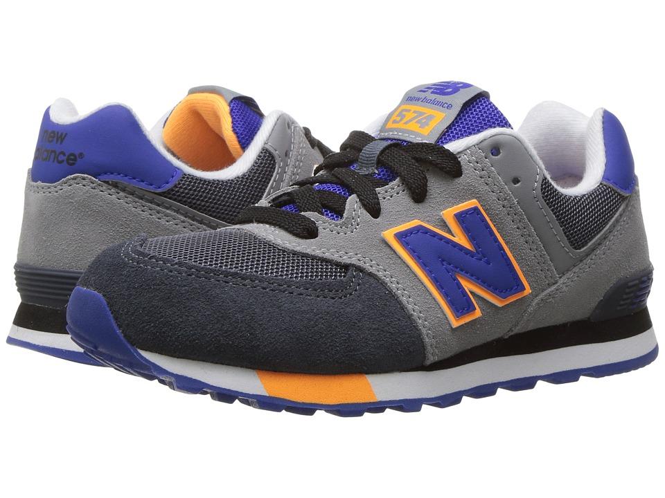New Balance Kids - KL574v1 (Little Kid) (Grey/Blue) Boys Shoes