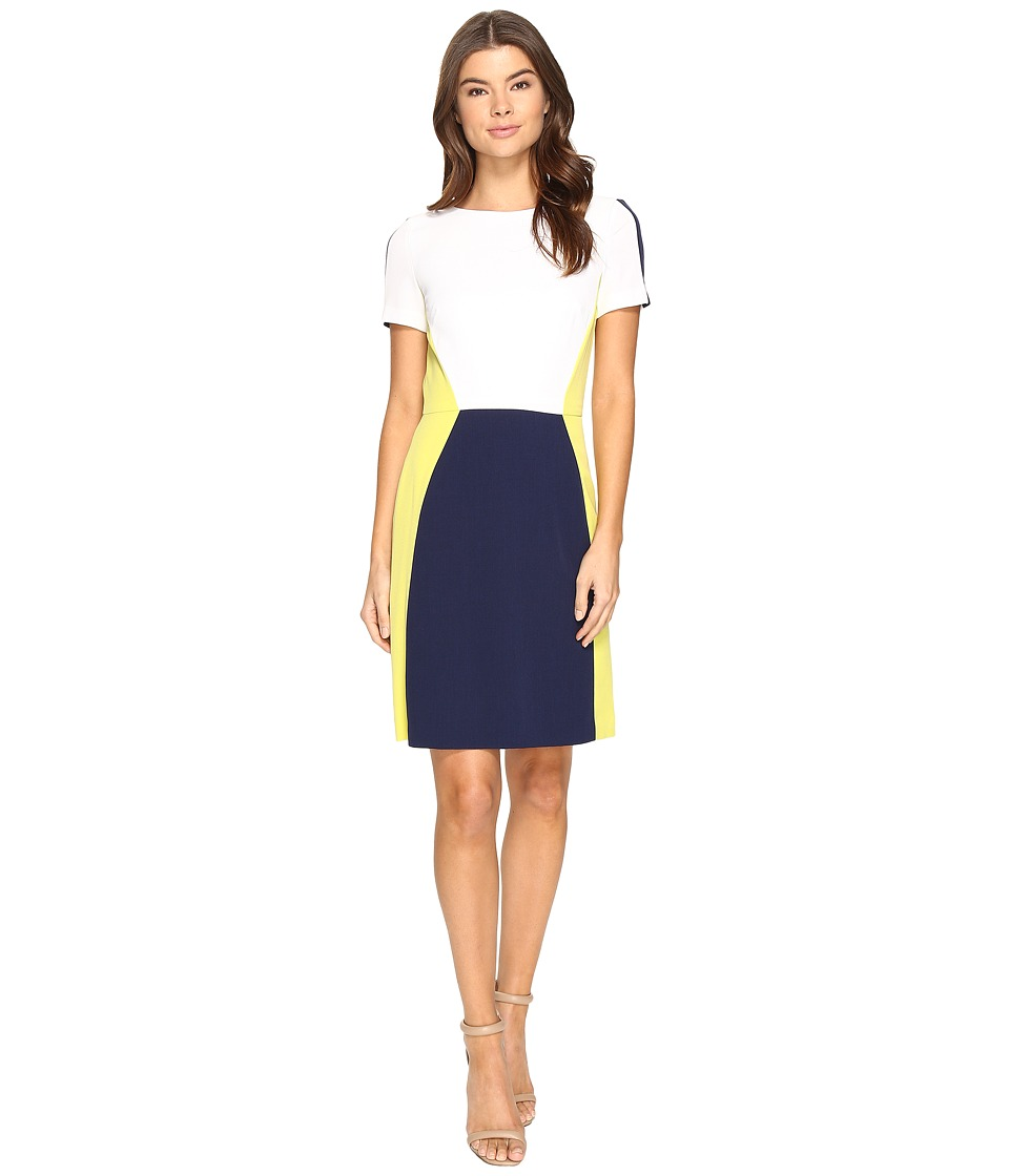 Tahari by ASL - Jewel Neck Short Sleeve Crepe Color Block A-Line (White/Navy/Kiwi) Women's Dress