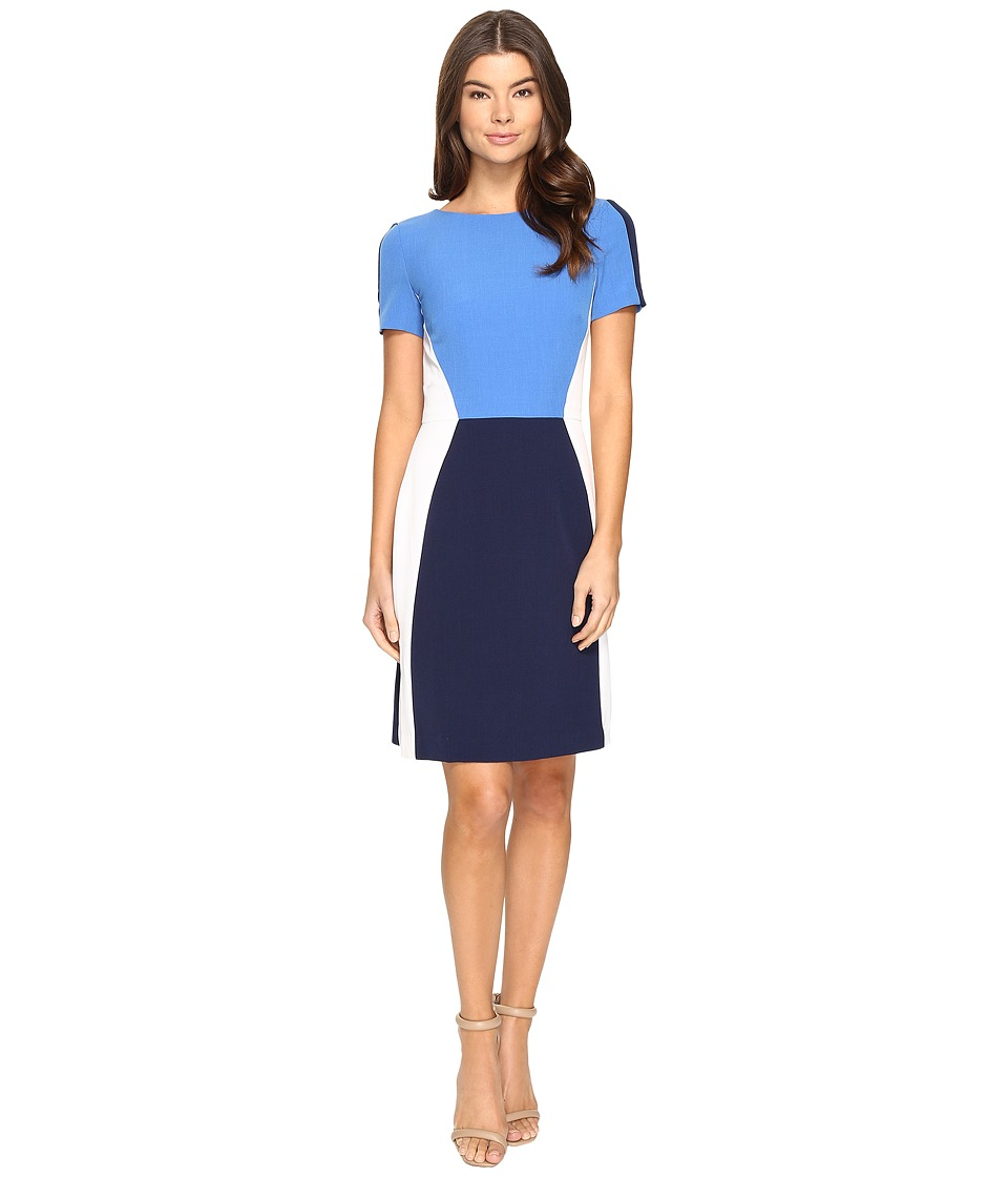 Tahari by ASL - Jewel Neck Short Sleeve Crepe Color Block A-Line (Blue/Navy/White) Women's Dress
