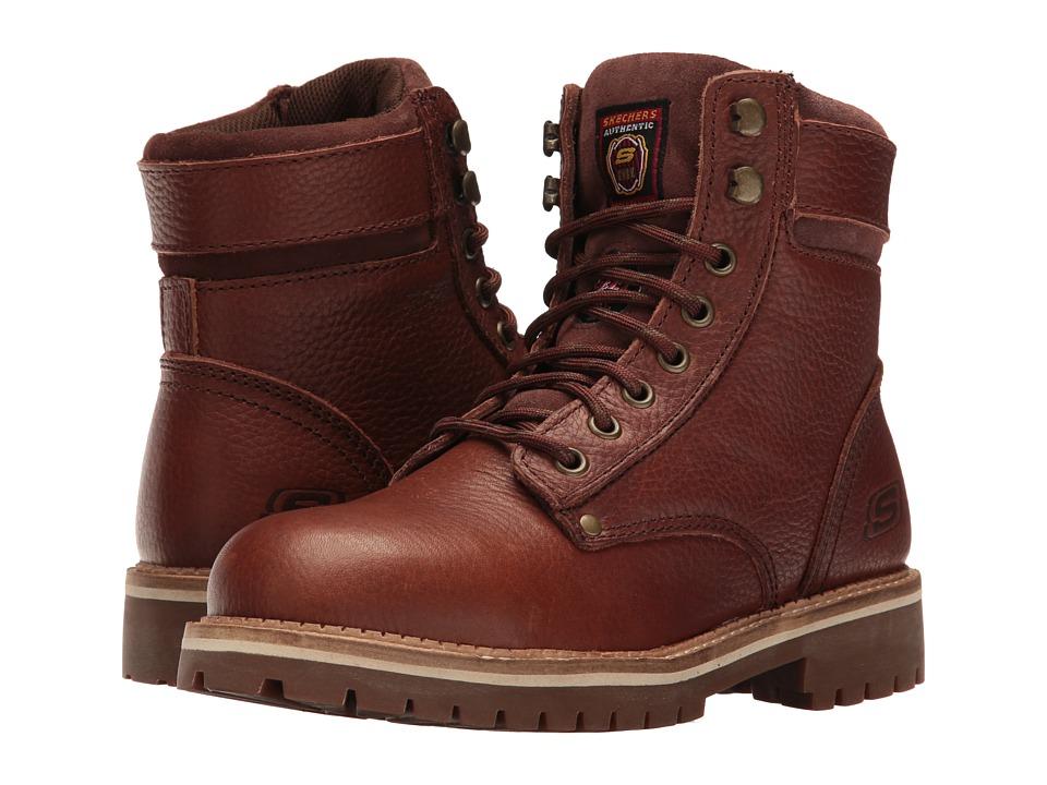 SKECHERS Work Brooten (Dark Brown Pitstop Tumbled Leather) Women