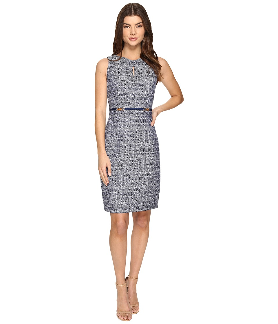 Tahari by ASL - Jacquard Sheath w/ Bamboo Hardware (Navy/White) Women's Dress
